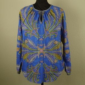 J. Crew Feather Paisley Top Cotton / Silk Blend